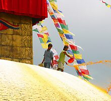 Painting lotus petals on the great stupa by leannepapas