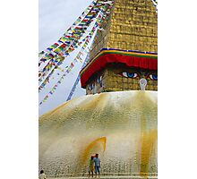 Painting lotus petals on the great stupa, with saffron water Photographic Print