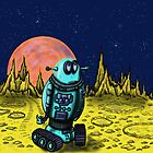 Lonely robot on remote planet darwing by Vitaliy Gonikman