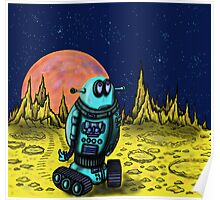 Lonely robot on remote planet darwing Poster