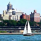 Sailboat Against Manhattan Skyline by Susan Savad
