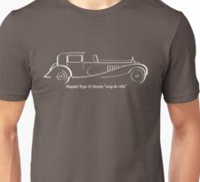 Bugatti Royale Type 41 white line drawing Unisex T-Shirt