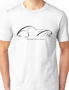 Bugatti Type 57SC Atlantique black ink line drawing Unisex T-Shirt