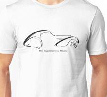 Bugatti Type 57SC Atlantique black ink line drawing Unisex T-Shirt