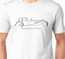 Bugatti Royale Type 41 black ink line drawing Unisex T-Shirt
