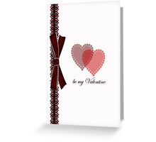 Valentine's Day Card Simple With Heart And Ribbon  Greeting Card