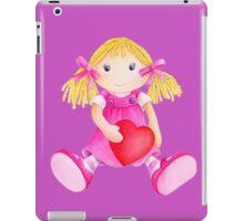 Girls toy rag doll watercolor kids nursery art pink iPad Case/Skin