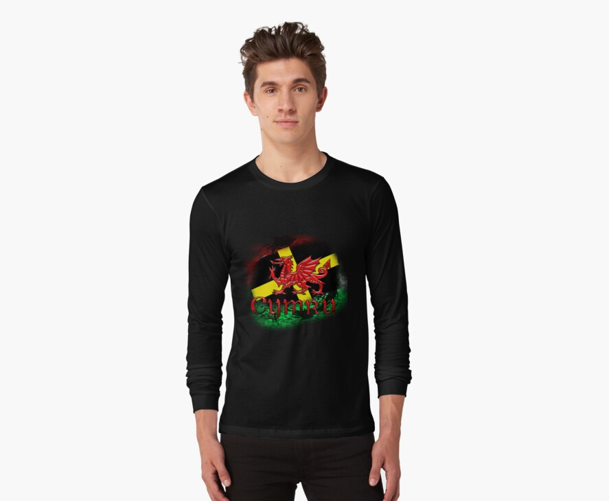 Welsh St. David's Day TShirt Tee With Grunge Dragon by Moonlake