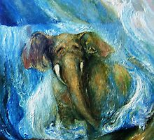 the Elephant and the Waterfall by Barbara Sparhawk