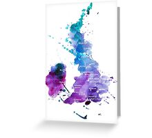 UK map in Watercolours Greeting Card