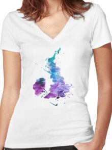 UK map in Watercolours Women's Fitted V-Neck T-Shirt