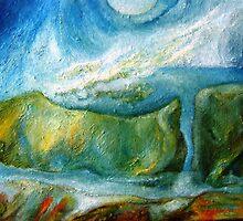 Lake, Fog, Cat and Elephant Rock by Barbara Sparhawk