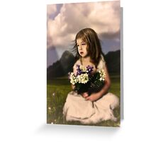 Children with lilac flowers Greeting Card