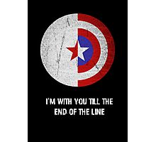 Cap and Bucky White Text Photographic Print