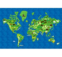 Cartoon Map of Flora and Fauna of the World  Photographic Print
