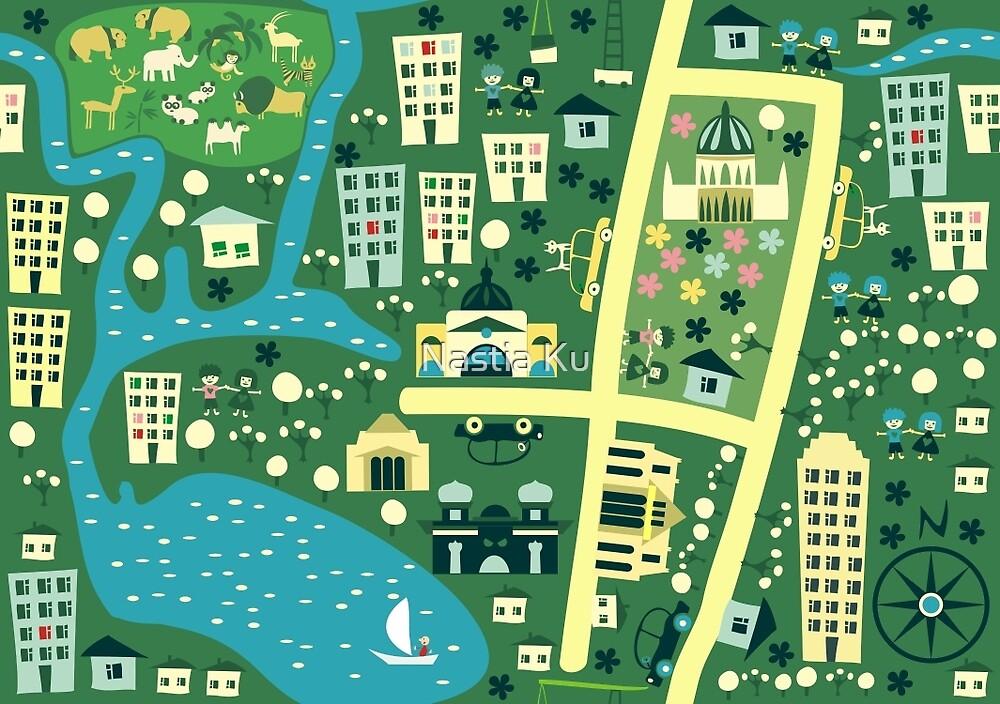 Cartoon Map of Melbourne by Anastasiia Kucherenko