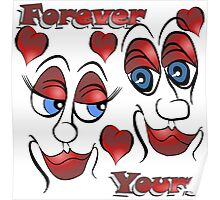 Cartoon Eyes - Forever Yours with Hearts Poster