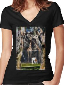 Jungle Zoo Women's Fitted V-Neck T-Shirt