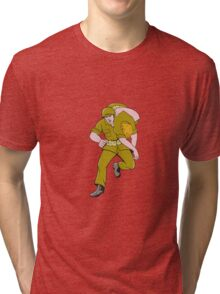 World War Two American Soldier Carry Wounded Comrade Tri-blend T-Shirt