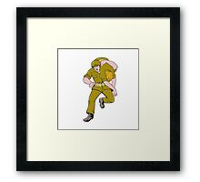 World War Two American Soldier Carry Wounded Comrade Framed Print