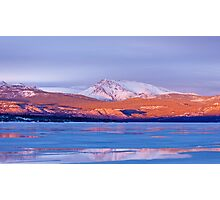 Snowy Mt Laurier frozen Lake Laberge Yukon Canada Photographic Print