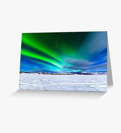 Intense display of Northern Lights Aurora borealis Greeting Card