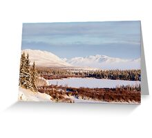 Scenic winter at frozen Lake Laberge Yukon Canada Greeting Card