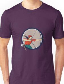 Archer Aiming Long Bow Arrow Cartoon Circle Unisex T-Shirt