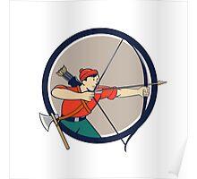 Archer Aiming Long Bow Arrow Cartoon Circle Poster