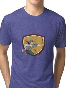 Archer Aiming Long Bow Arrow Cartoon Crest Tri-blend T-Shirt