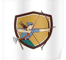 Archer Aiming Long Bow Arrow Cartoon Crest Poster