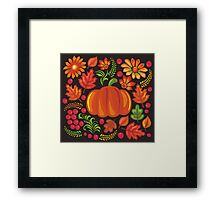 Pumpkin with flowers in Ukrainian style Framed Print