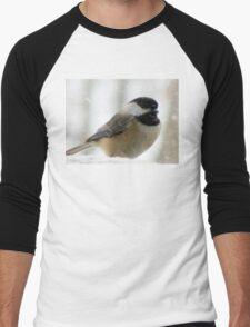 Chickadee In Snowstorm Men's Baseball ¾ T-Shirt