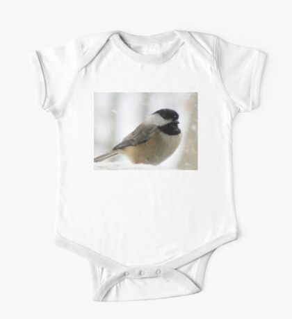 Chickadee In Snowstorm One Piece - Short Sleeve