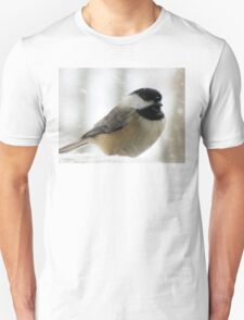 Chickadee In Snowstorm Unisex T-Shirt
