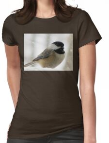 Chickadee In Snowstorm Womens Fitted T-Shirt