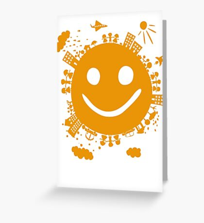 smiling planet Greeting Card