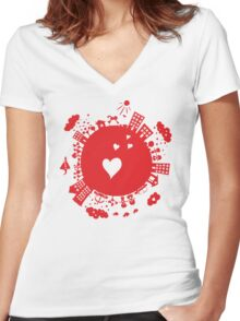 planet in love Women's Fitted V-Neck T-Shirt