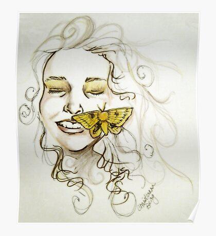 yellow moth Poster