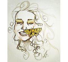 yellow moth Photographic Print