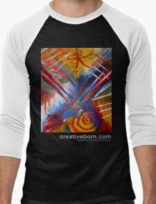 Abstract 9 t-shirt white text Men's Baseball ¾ T-Shirt