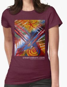 Abstract 9 t-shirt white text Womens Fitted T-Shirt