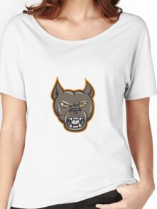 Pitbull Dog Mongrel Head Angry Cartoon Women's Relaxed Fit T-Shirt