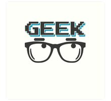 Geek wearing glasses Art Print