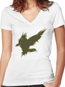 Eagle_01 Women's Fitted V-Neck T-Shirt
