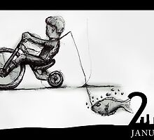 January 21st - Riding with my fish by 365 Notepads -  School of Faces