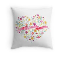 Love finds a way painted flower bouquet Throw Pillow