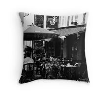 Morning Chat, Place Royale Black and White Throw Pillow