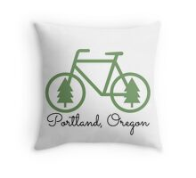 Portland - PDX - City of Trees and Bicycles Throw Pillow