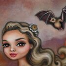 lesser long nose bat by: julie b.  www.facebook.com/art.julieb by artists4wildlfe